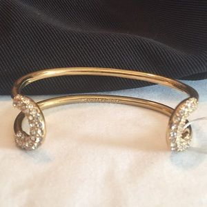 ANN TAYLOR double GOLD Rhineston WRAP BAND $69 NEW